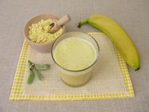 Vegan shake with lupin flour and banana royalty free stock images