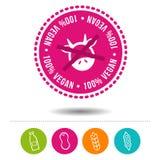 100% Vegan Siegel und Ernaehrung Icons. 100% Vegan Siegel und Ernaehrung Icons für die Lebensmittelindustrie zur Anzeige von Allergien und Unverträ royalty free illustration