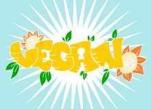 Vegan sign with sunflowers Stock Photos