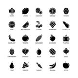 Vegan silhouettes icons bio ecology organic logos and badges vegetables fruits analysis design elements fruit vegetable vector illustration