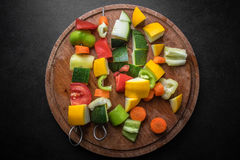 Vegan skewers on the table Royalty Free Stock Images