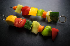 Vegan skewers on the table Stock Photos