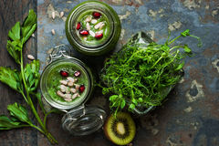 Vegan smoothie in a glass jars Stock Images