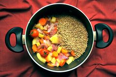 Vegan soup with lentils and fresh, organic vegetables in a pan Royalty Free Stock Photos