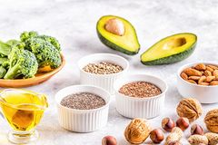Vegan sources of omega 3 and unsaturated fats. Concept of healthy food stock image