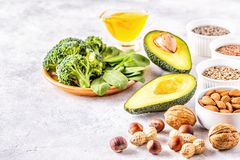 Vegan sources of omega 3 and unsaturated fats. Concept of healthy food royalty free stock photo