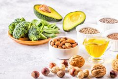 Vegan sources of omega 3 and unsaturated fats. Concept of healthy food royalty free stock image
