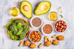 Vegan sources of omega 3 and unsaturated fats. Concept of healthy food. Top view royalty free stock photography