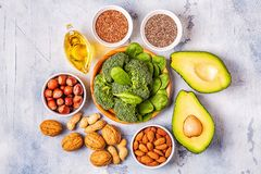 Vegan sources of omega 3 and unsaturated fats. Concept of healthy food. Top view stock photo