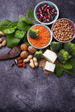 Vegan sources of protein. Healthy food concept. Selective focus Royalty Free Stock Images
