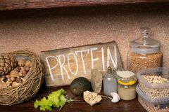 Vegan sources of protein. Healthy food concept. stock photo