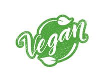Vegan stamp with hand drawn lettering isolated on white Royalty Free Stock Photography