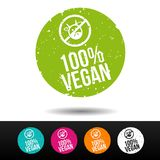 100% Vegan Stamp with Icon. 100% Vegan Stamp with Icon - Eps10 Vector Button. Badge for vegan friendly people Stock Illustration