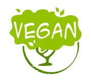 Vegan sticker on white background. Vegan sticker, vector illustration for graphic and web design Stock Image