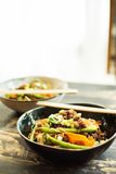 Vegan stir fry made with pulled oats Royalty Free Stock Images