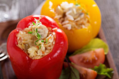 Vegan stuffed peppers with rice Stock Photos