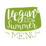 Vegan summer menu green label, vector illustration Stock Photography