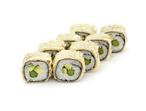 Vegan sushi rolls. With cucumber and avocado on a white background stock image