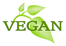 Vegan symbol with green leafs isolated stock illustration
