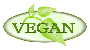 Vegan symbol with green leafs isolated Stock Photos