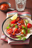 Vegan taco with avocado tomato kidney beans and salsa Royalty Free Stock Image