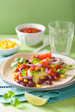 Vegan taco with vegetable, kidney beans and salsa Stock Images