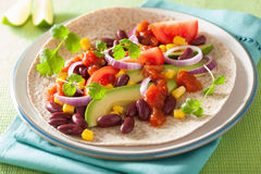 Vegan taco with vegetable, kidney beans and salsa Stock Photos