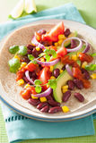 Vegan taco with vegetable, kidney beans and salsa Royalty Free Stock Image