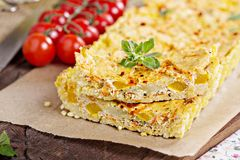 Vegan tart with millet crust and tofu filling royalty free stock photo