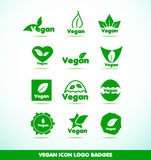 Vegan text logo icon badges set Stock Photos