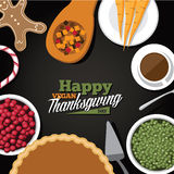 Vegan Thanksgiving meal greeting card design Stock Photo