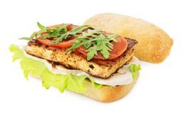 Vegan tofu sandwich Royalty Free Stock Photos