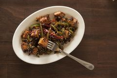 Vegan tofu stir fry. Is a healthy and delicious weeknight meal Stock Photography