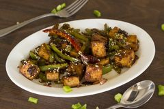 Vegan tofu stir fry. Is a healthy and delicious weeknight meal Royalty Free Stock Photography
