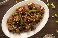 Vegan tofu stir fry. Is a healthy and delicious weeknight meal Royalty Free Stock Photos