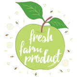 Vegan typographic card with a green apple. Fresh farm natural product banner. Hand drawn vegan food. Can be used as a print on T-shirts and bags, label Royalty Free Stock Image