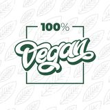 100 VEGAN typography with square frame. Handwritten lettering for restaurant, cafe menu. Vector elements for labels, logos, badges. 100 VEGAN typography stock illustration