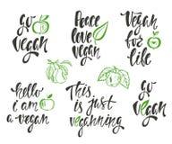 Vegan. Vector set of hand drawn lettering phrases, food design. royalty free illustration