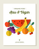 Vegan and vegetarian food concept with fruits vector illustration