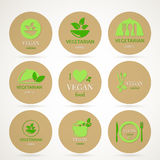 Vegan and Vegetarian Food Emblems Stock Photography