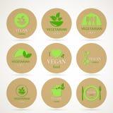 Vegan and Vegetarian Food Emblems Stock Photography