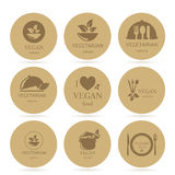 Vegan and Vegetarian Food Emblems Royalty Free Stock Photo