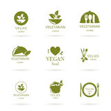 Vegan and Vegetarian Food Emblems Royalty Free Stock Photos