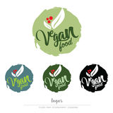 Vegan, vegetarian food logo. Vegan, vegetarian food vector illustration Stock Photography