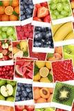 Vegan and vegetarian fruits background with apples, oranges, lem Stock Photos