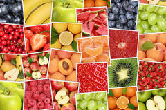 Vegan and vegetarian fruits background with apples, oranges, str Royalty Free Stock Image