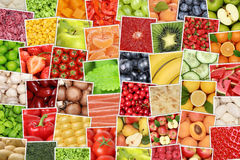 Vegan vegetarian fruits and vegetables background with tomatoes, Royalty Free Stock Photos