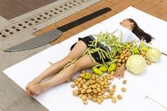 Vegan vegetarian humans cooking protest Royalty Free Stock Image