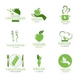 Vegan and vegetarian icons Royalty Free Stock Images