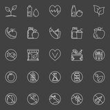 Vegan or vegetarian icons Stock Images